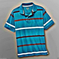 NWT Canyon River Blues Nice Boy's Tile Blue With Stripes Polo Shirt - Sz S (8)  - $12.99 - Re-list April 28, 2014 - #FreeShipping