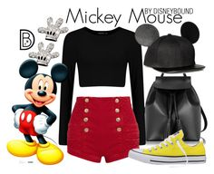 """Mickey Mouse"" by leslieakay ❤ liked on Polyvore featuring Le Parmentier, Disney, Pierre Balmain, Converse, disney, disneybound and disneycharacter"