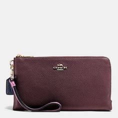 Double Zip Wallet in Colorblock Leather