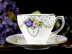 Pansies Teacup Tea Cup and Saucer Made in by TheVintageTeacup
