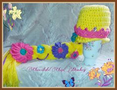 Princess Rapunzel crochet hat with jeweled crown, inspired by Disney's Tangled Etsy listing at https://www.etsy.com/listing/198976176/princess-rapunzel-braid-with-jeweled