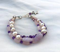Amethyst Bracelet with Pink Rose Quartz by MermaidsBeachJewelry