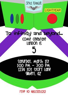 Buzz lightyear invitation