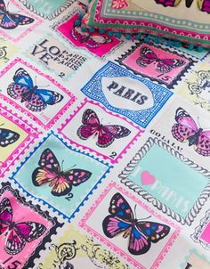 Butterfly Stamp Double Duvet Set