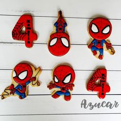 Spider-Man Birthday Cookies made by Miryam Vieyra from Biscuits Azucar Spiderman Cookies, Baby Spiderman, Spiderman Birthday Cake, Superhero Cookies, Avengers Birthday, Birthday Cakes For Men, Superhero Birthday Party, Birthday Cookies, Spider Man Birthday