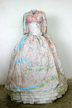 Dress made from pink Ordinance Survey maps of the Scottish Highlands by Susan Stockwell, London.