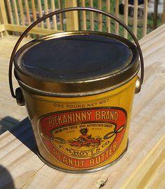 Vintage One Pound Pickaninny Brand Peanut Butter Tin Pail
