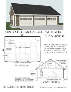 Garage plan.... Make it deep enough for two cars in each stall