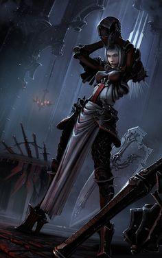 Diablo 3 - Crusader by Kkkiri Fantasy Female Warrior, Female Knight, Fantasy Armor, Fantasy Women, Medieval Fantasy, Fantasy Girl, Dark Fantasy, Dnd Characters, Fantasy Characters