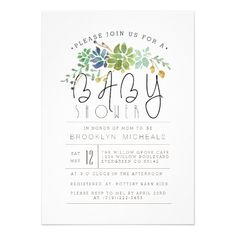 Chic Succulent Garden | Watercolor Baby Shower Card