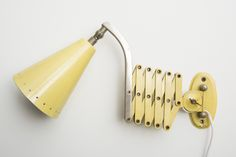 Industrial Scissor Lamp in Butter Yellow