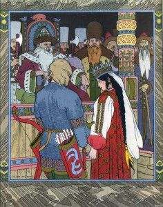 Bilibin_Prince Ivan, The Firebird and the Grey Wolf_08-001
