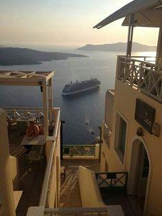 santorini | fira | cafe classico Santorini, Opera House, Reflection, Building, Travel, Viajes, Buildings, Destinations, Traveling