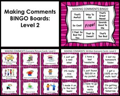 SOCIAL SKILLS~Conversation: Making Comments BINGO.  This interactive CONVERSATION activity is great for supporting students who need practice RESPONDING to others and with general conversational skills. It is also helpful for those who need practice with PERSPECTIVE TAKING.   https://www.teacherspayteachers.com/Product/SOCIAL-SKILLS-Making-Comments-BINGO-k-5th-Grade-OR-Ability-Level-1145850 #conversation