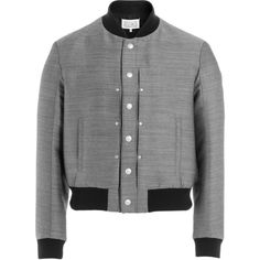 Maison Margiela Cotton and Wool Bomber Jacket ($692) ❤ liked on Polyvore featuring men's fashion, men's clothing, men's outerwear, men's jackets, grey, mens wool outerwear, mens slim fit bomber jacket, mens cotton bomber jacket, mens slim fit jacket and mens grey jacket
