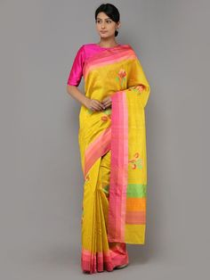 Yellow Pink Handwoven Banarasi Tussar Silk Saree