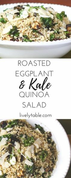 A delicious and healthy quinoa salad with roasted eggplant, kale, parmesan, and a lemony dressing that can be enjoyed hot or cold! (gluten-free, vegetarian) via http://livelytable.com