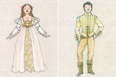 Ever After musical costume concept art - Danielle and Prince Henry - Jess Goldstein