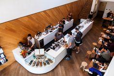 Saint Frank Coffee: A San Francisco, CA Bar. Small Coffee Shop, Coffee Shop Bar, Best Coffee Shop, Coffee Cafe, Coffee Shops, Cafe Shop Design, Coffee Shop Interior Design, Bakery Design, Restaurant Interior Design
