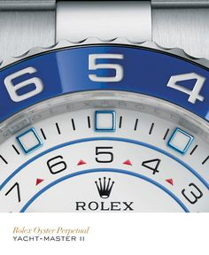 Rolex Yacht-Master II 44 mm in 904L steel with a rotatable Ring Command bezel, blue ceramic Cerachrom bezel insert, white dial and Oyster bracelet. #Yachting #RolexOfficial
