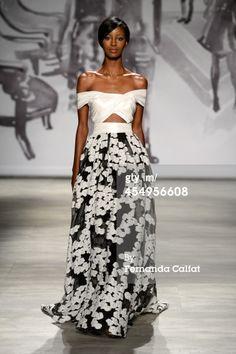 News Photo : model walks the runway at the Lela Rose fashion...