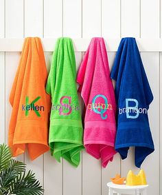 Look at this Large Colorful Initial Beach Towel Large Beach Towels, Cool Pools, Gifts For Family, Stay Warm, Initials, Just For You, Monogram, Colorful, Cozy