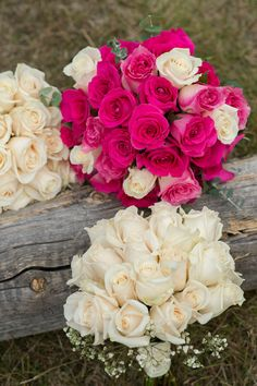 Deep Pink Roses + Blush Pink Rose Bouquet | Real Wedding on Style Me Pretty: http://www.StyleMePretty.com/canada-weddings/2014/03/13/banff-national-park-mountain-wedding/ Photography: Orange Girl
