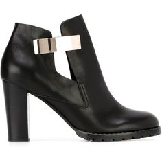 See By Chloé Cut-Out Ankle Boots ($299) ❤ liked on Polyvore featuring shoes, boots, ankle booties, heels, black, short black boots, chunky-heel boots, black cut out booties, high heel ankle boots and black heeled boots