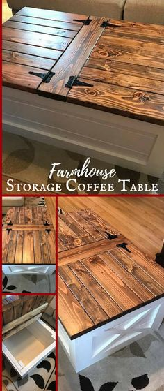 Love this farmhouse storage coffee table! Perfect to store my blankets in while keeping that fixer upper look.  #rusticdecor #ad #fixerupper #famrhouse