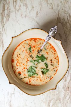 Tom Kha Soup-LOVE this stuff even though it has a kick. Tried it at a Thai restaurant in town and I'm hooked!