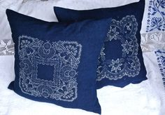 Indigo dyed linen cushions from Hungary