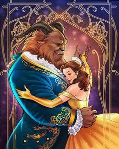 Beauty and the Beast by Lukas Werneck * Disney Films, Disney And Dreamworks, Fera Disney, Princesa Disney Bella, Belle Beauty And The Beast, Princess Art, Deviant Art, Disney Fan Art, Disney Drawings