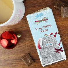 Personalised Me To You Tatty Teddy Couple Christmas Chocolate Bar, Personalise this Me To You Chocolate Bar with any message Available From Creative Gifts uk