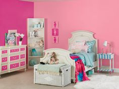 Paint a Kid's Room with Color that Pops Paint Cans, Interior And Exterior, Toddler Bed, Kids Room, Grand Kids, House Design, Inspiration, Painting, Furniture