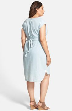 Free shipping and returns on Sejour Bleach Wash Chambray Tie Waist Dress (Plus Size) at Nordstrom.com. A contoured tie at the waist accentuates the narrowest part of the figure for a cute V-neck sheath cut from bleach-washed chambray and structured with princess seaming. Cuffed cap sleeves frame the style and a shirttail hem makes a shapely finish.