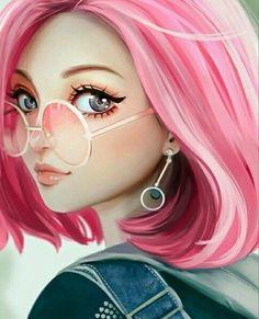 Digital drawing face manga girl with pink hair with glasses and . - Digital drawing face manga girl with pink hair with glasses and earrings - Art Anime Fille, Anime Art Girl, Anime Girls, Art Mignon, Girly M, Digital Art Girl, Digital Art Anime, Cute Drawings, Cartoon Drawings Of Girls