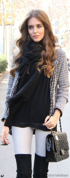 Chanel  CAbi fall - black cami ,pointelle sweater, static jacket paired back to vintage white Bree jean - Accesorize - scarf,boots - make it your own !