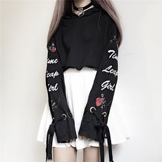 Harajuku Hoodies Women Cute Bow Tie Rose Letters Embroidery Short Pullover For Kawaii Girls Autumn Clothes<br /><br />Size (cm)<br /><br /><br />Length 52 CM Bust 108 CM Shoulder 56 CM Sleeve 52 CM Edgy Outfits, Korean Outfits, Mode Outfits, Grunge Outfits, Girl Outfits, Fashion Outfits, Fashion Trends, Womens Fashion, Style Fashion