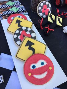 How cool are these Disney Cars cookies?! They are awesome! See more party ideas and share yours at CatchMyParty.com #catchmyparty #disneycars #cookies