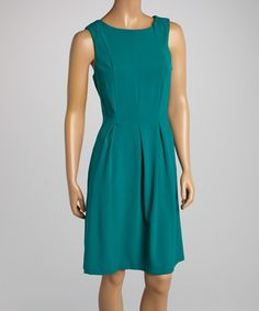 Love this Emerald Pleated Tropical A-Line Dress by AA Studio on #zulily! #zulilyfinds
