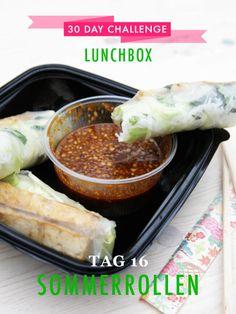 30 day challenge: Jeden Tag ein leckeres Mittagessen für die Büro-Lunchbox zubereiten. Cheat-Day: Heute gibt es Sommerrollen vom Asiaten nebenan.