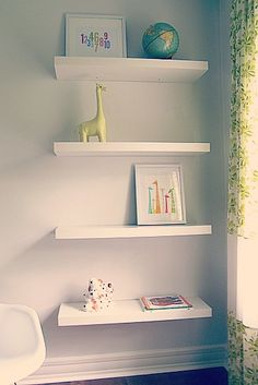 Simple floating shelves! #PishPoshBaby #blackandwhite