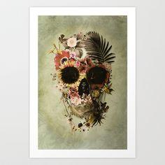 Garden Skull Light Art Print by Ali GULEC   Society6