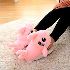 Winter Super Animal Funny Shoes For Men and Women Warm Soft Bottom Home&House Indoor Floor Shark Shape Furry Slippers Shallows Women Shoes for work Funny Slippers, Shark Slippers, Funny Shoes, Floral Embroidery Dress, Long Sweaters For Women, Funny Animals, Felt Animals, Ciabatta, Lingerie