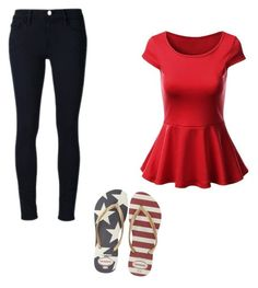 """""""Outfit"""" by averye-beard on Polyvore featuring Frame Denim and Havaianas"""