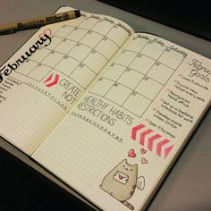 February Monthly Spread #bulletjournal #bohoberry #february #pusheen #bulletjournaljunkies