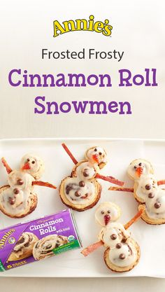 'Tis the season to eat delicious and adorable treats. The best part about these holiday breakfast buns? They're super easy and kid-friendly. A simple rearranging  Annie's  Organic Cinnamon Rolls and creative decorating...and tada! Cinnamon Roll Snowmen.