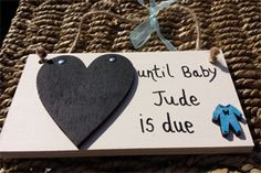 Blue Baby Grow Pregnancy Countdown Chalkboard Plaque