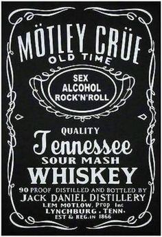 T-shirt - Motley Crue -(Jack Daniels Style Logo) -Short or Long sleeves **Rock** Iron Maiden, Ramones, Pink Floyd, The Beatles, Motley Crue Albums, Woodstock, Heavy Metal, Motley Crue Nikki Sixx, Rock Band Logos