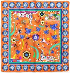 Cyclades Friendship Silk Scarf Orange draws its inspiration from Minoan and Cycladic Art. Silk Twill, Hand rolled, 90 x 90 cm.
